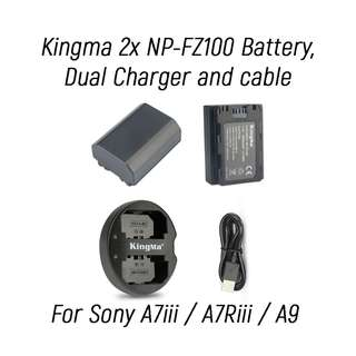 Kingma 2x NP-FZ100 battery + Dual Charger [In Stock]