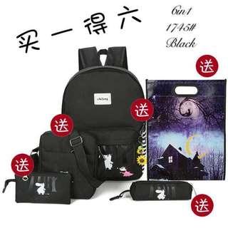 korean casual style 6in1 bagpack