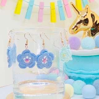 New Crochet flower Earring 全新人手線鈎花花耳環