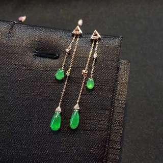 冰種翡翠 正陽綠耳線 氣質非凡 冰瑩起光✨ 18k金+鑽石
