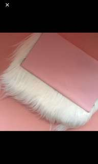 Relisting handmade pink leather faux fur pouch clutch