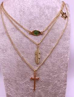 3 LAYER EYE LEAF CROSS NECKLACE