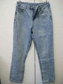 🚚 🎆淺藍刷色高腰直筒牛仔褲