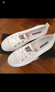 Converse ballet lace slip on white canvas shoes