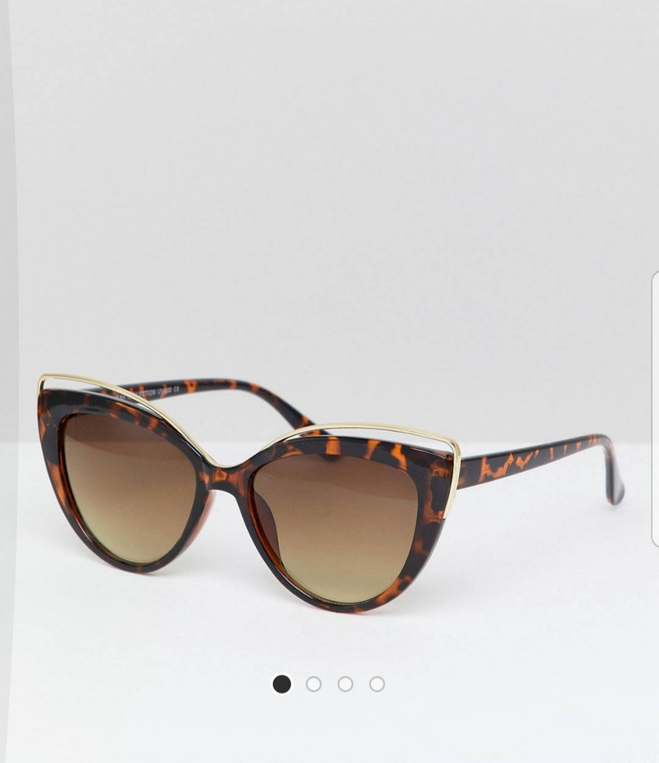 7x cat eye tortoiseshell Sunglasses with wire brow detail