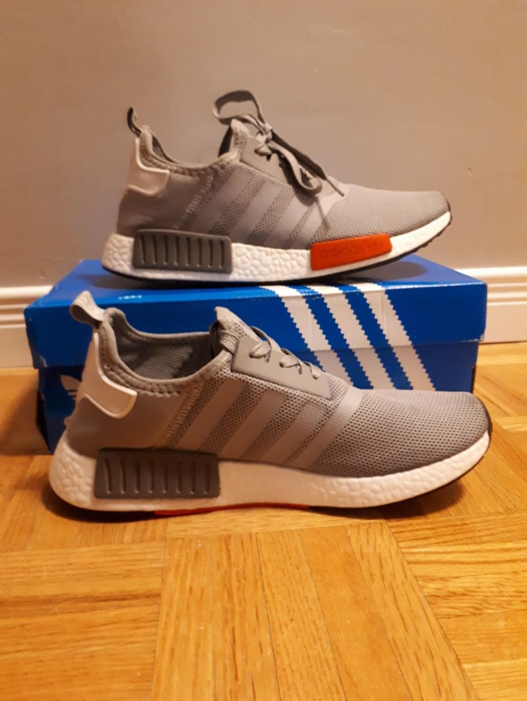 Adidas NMD Grey/White/Red Ladies Size 8/8.5