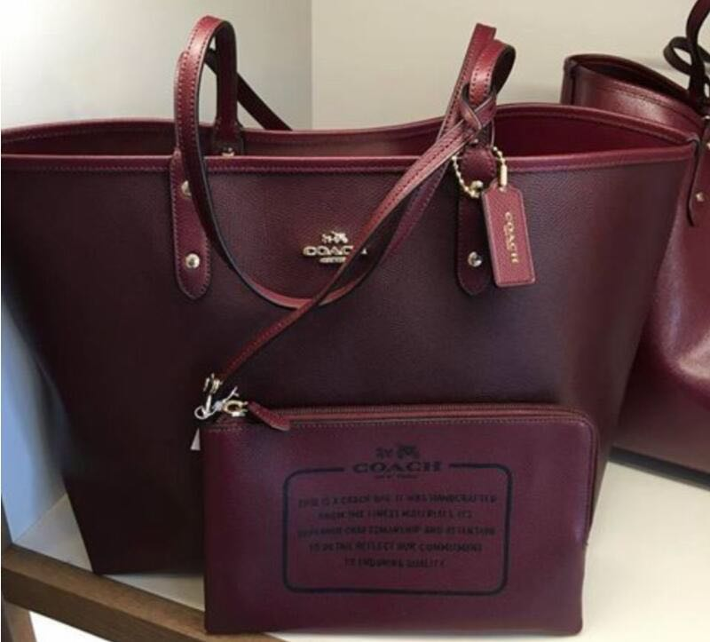08f913e4dd AUTHENTIC COACH RIVERSIBLE OXBLOOD  BURGUNDY