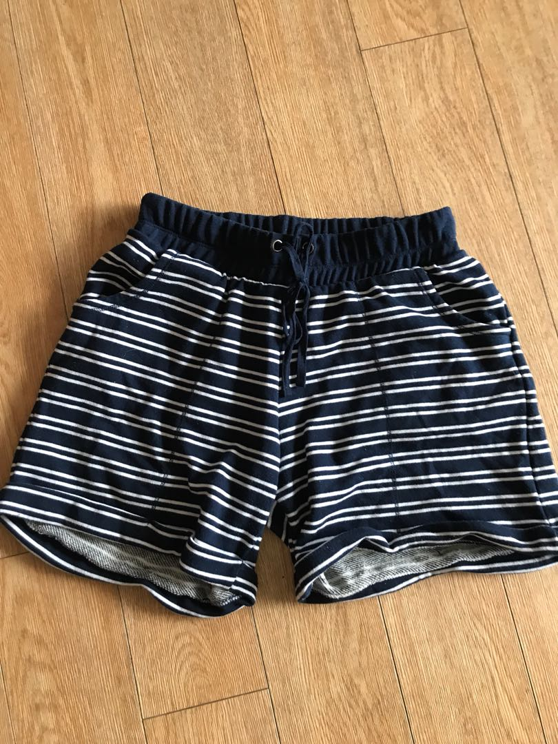 Blue and white striped shorts with waist tie