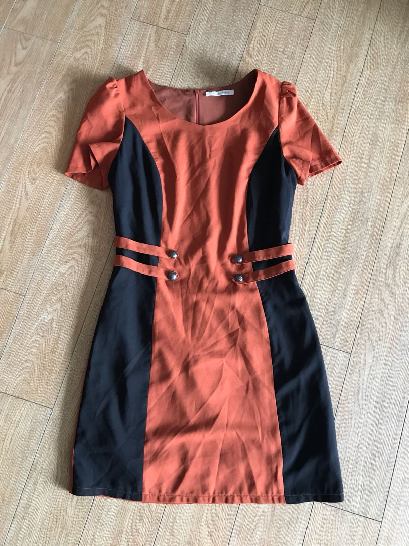 Burnt orange and black business or casual dress