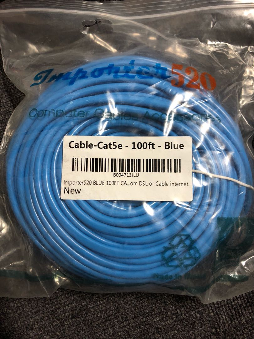 Cat5e Lan Cable 30m 100ft Cat 5e, Electronics, Others on Carousell
