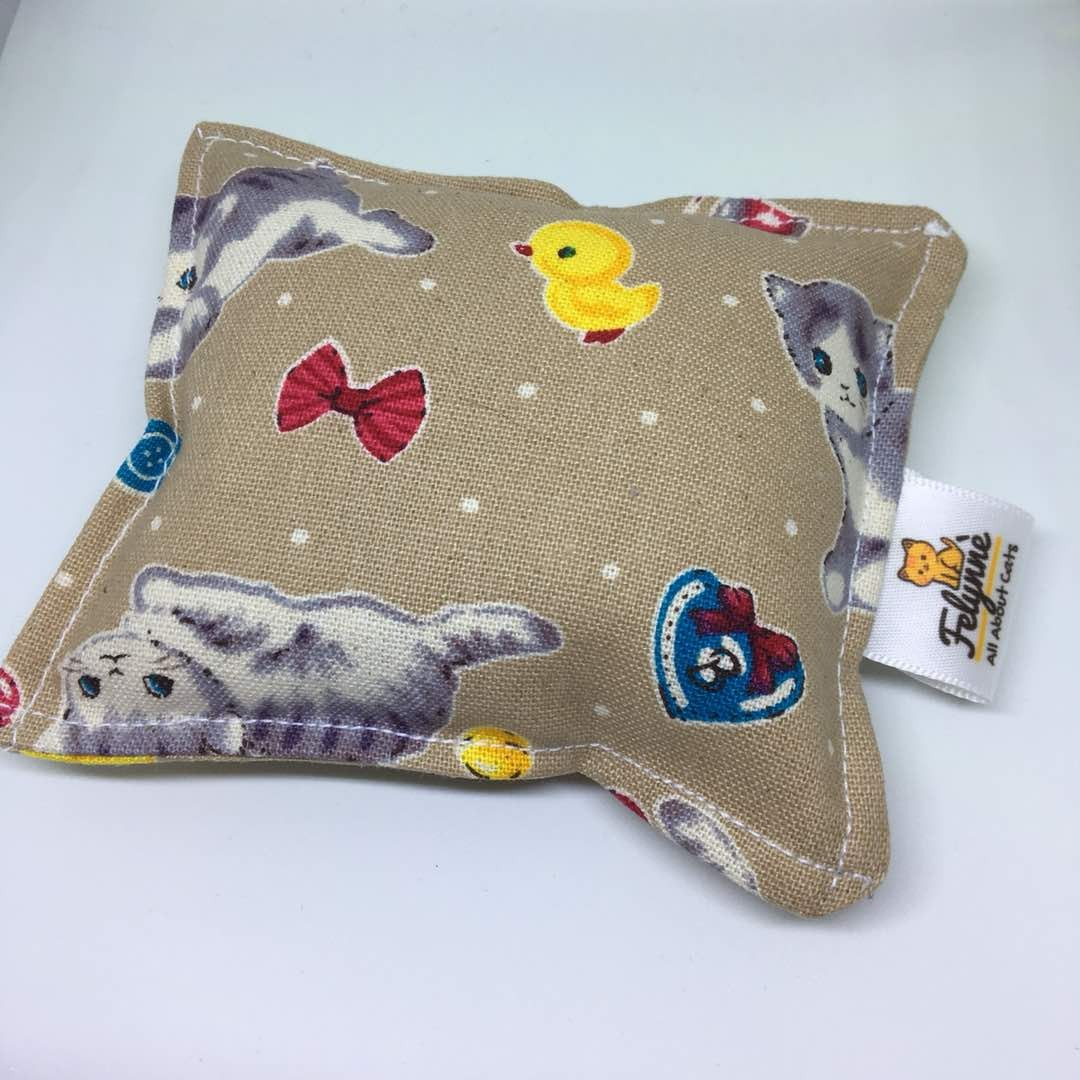 CAT TOYS - CUSHION WITH CATNIP ~ BROWN