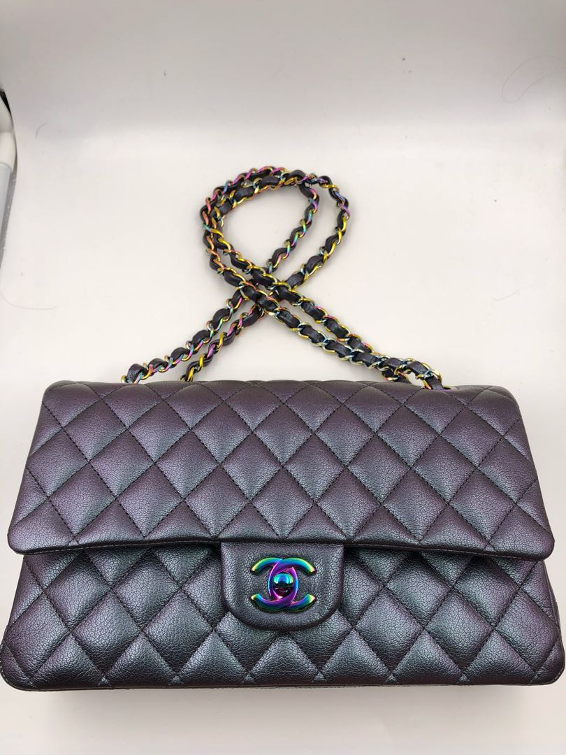 18ae662e4ac35b Chanel medium double flap rainbow iridescent purple mermaid classic bag,  Luxury, Bags & Wallets on Carousell