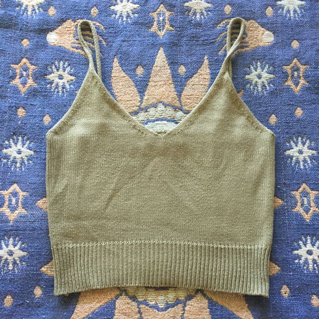 Green Knit Crop Top