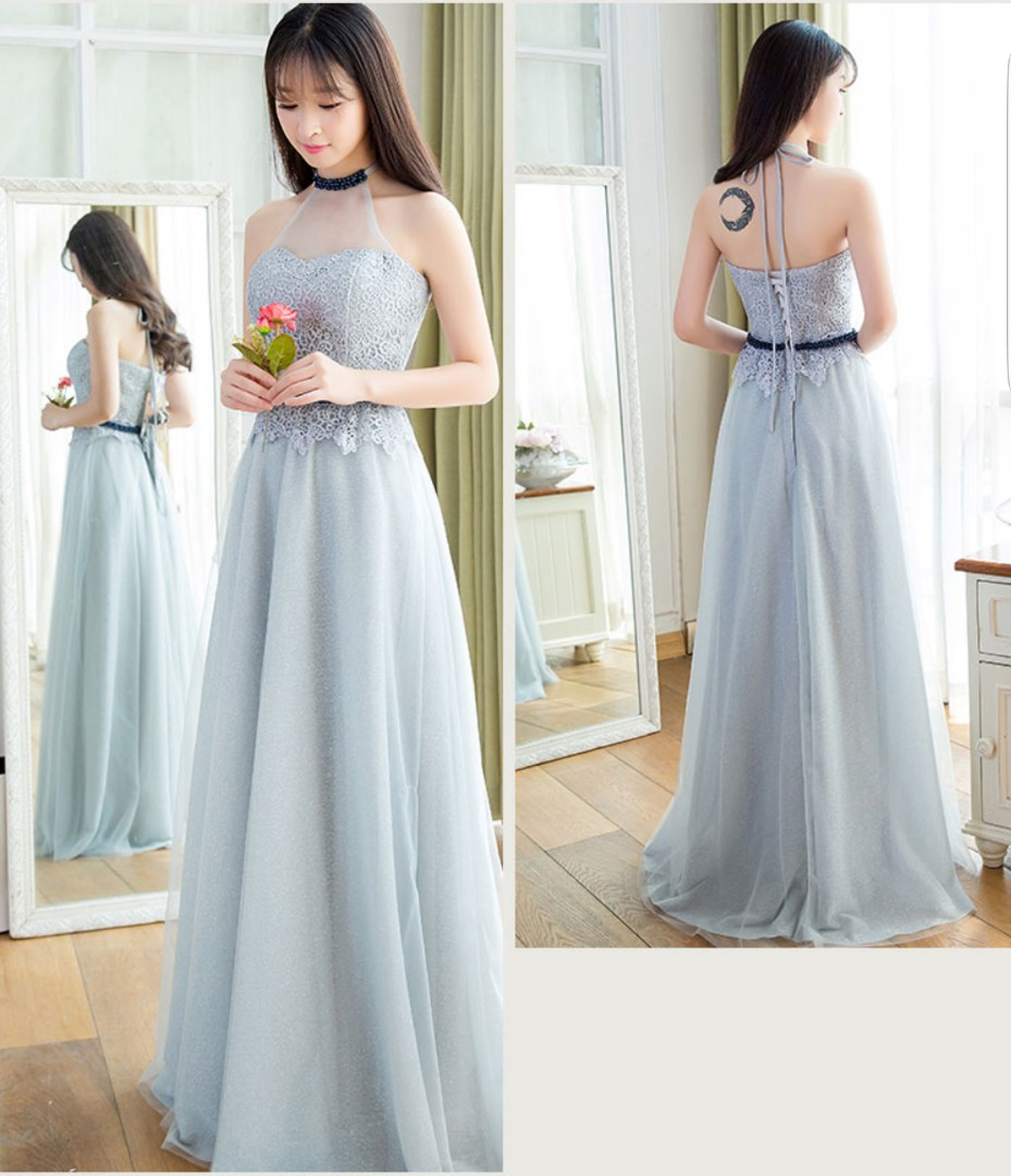 Grey evening gown wedding gown, Women\'s Fashion, Clothes, Dresses ...