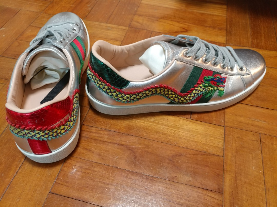 6500f3400 GUCCI Men's Ace Embroidered Silver Dragon Sneakers, Luxury, Apparel ...