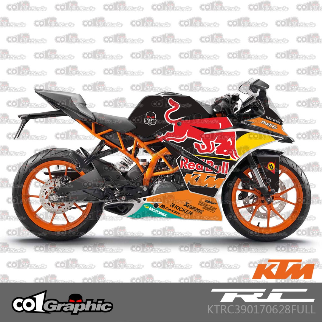 Ktm rc 390 fairings coverset sticker 3 redbull red bull motorbikes motorbike accessories on carousell