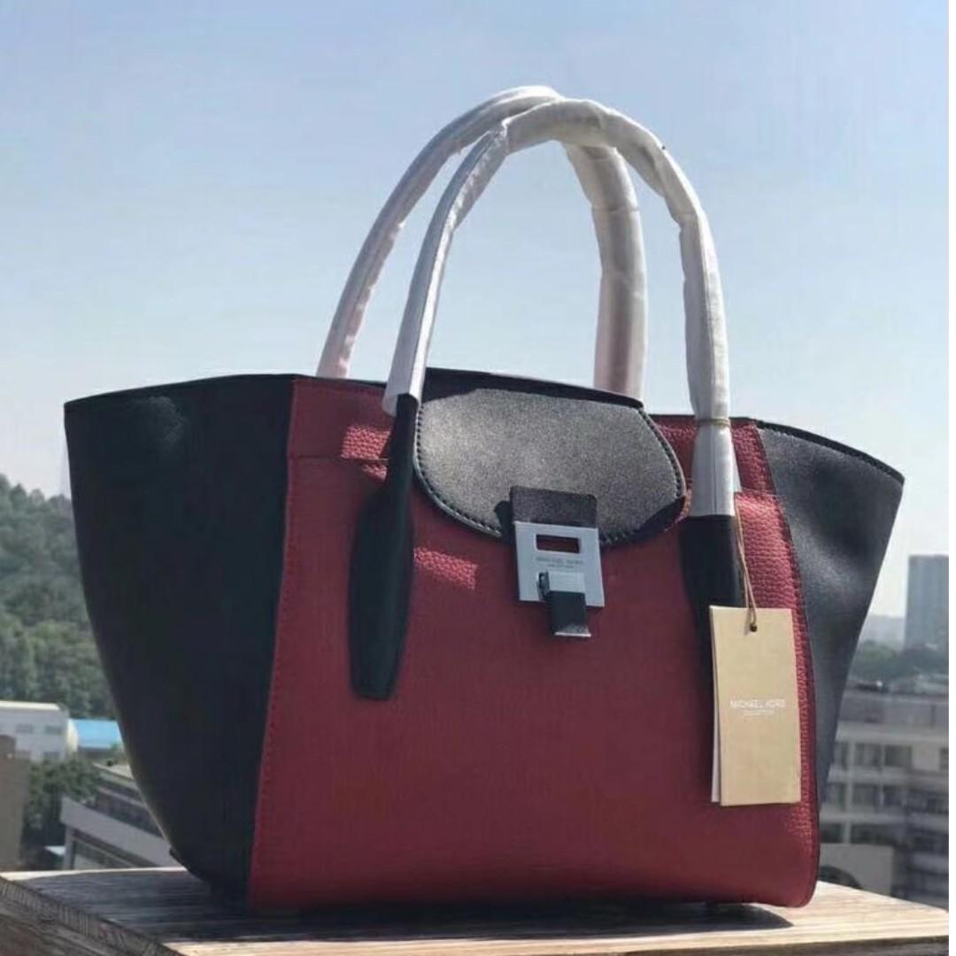 9991c5b33ce2 ... spain michael kors bancroft leather satchel maroon colour luxury bags  wallets on carousell ef826 4c16f