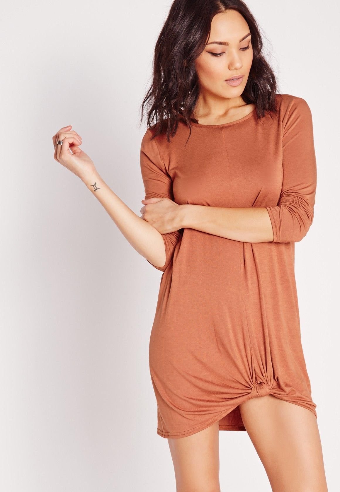 MISSGUIDED knot front long sleeve dress (SIZE 0)