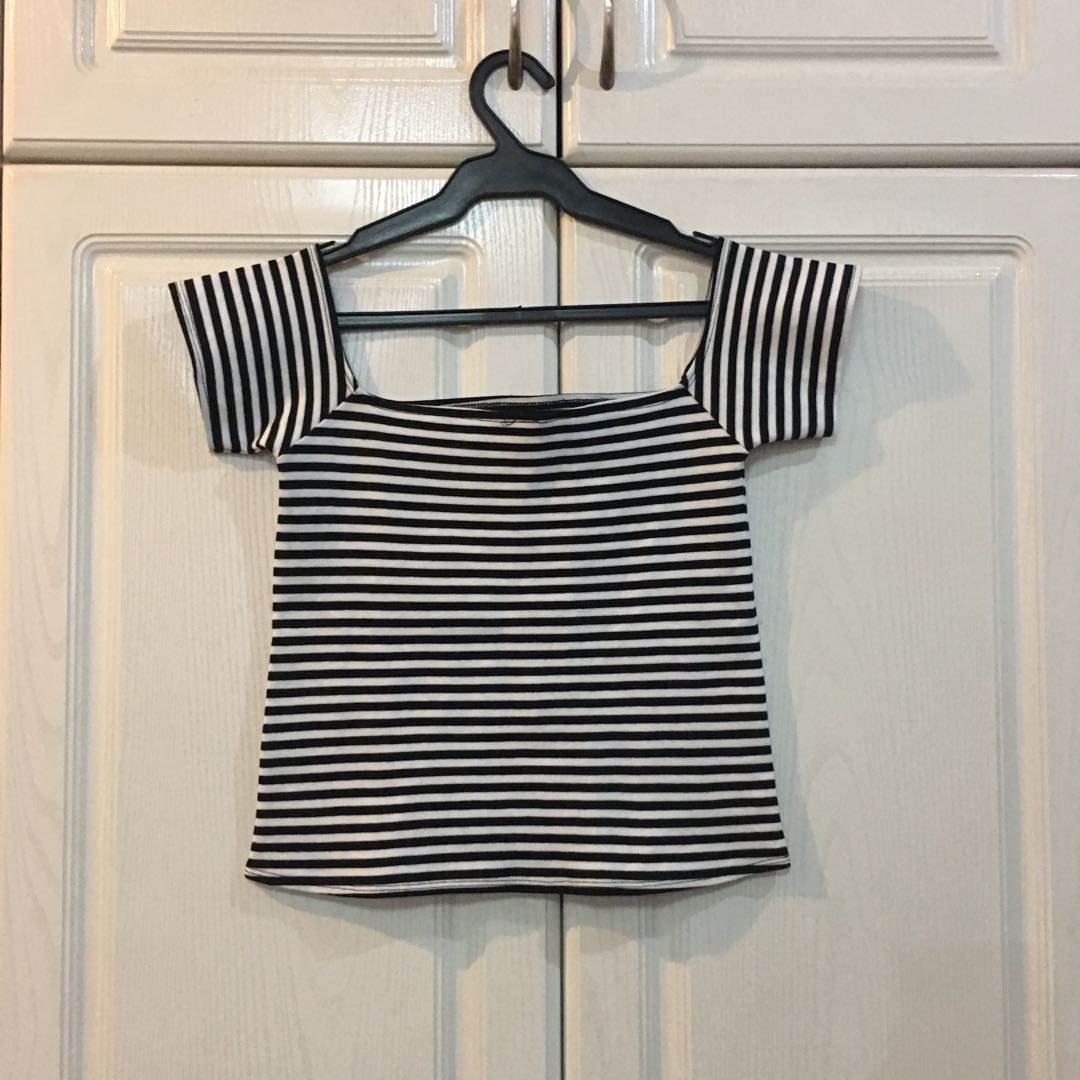 NEW! Striped Stretchy Off Shouldered Top