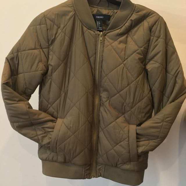 Olive Green Bomber Jacket F21 | Size S