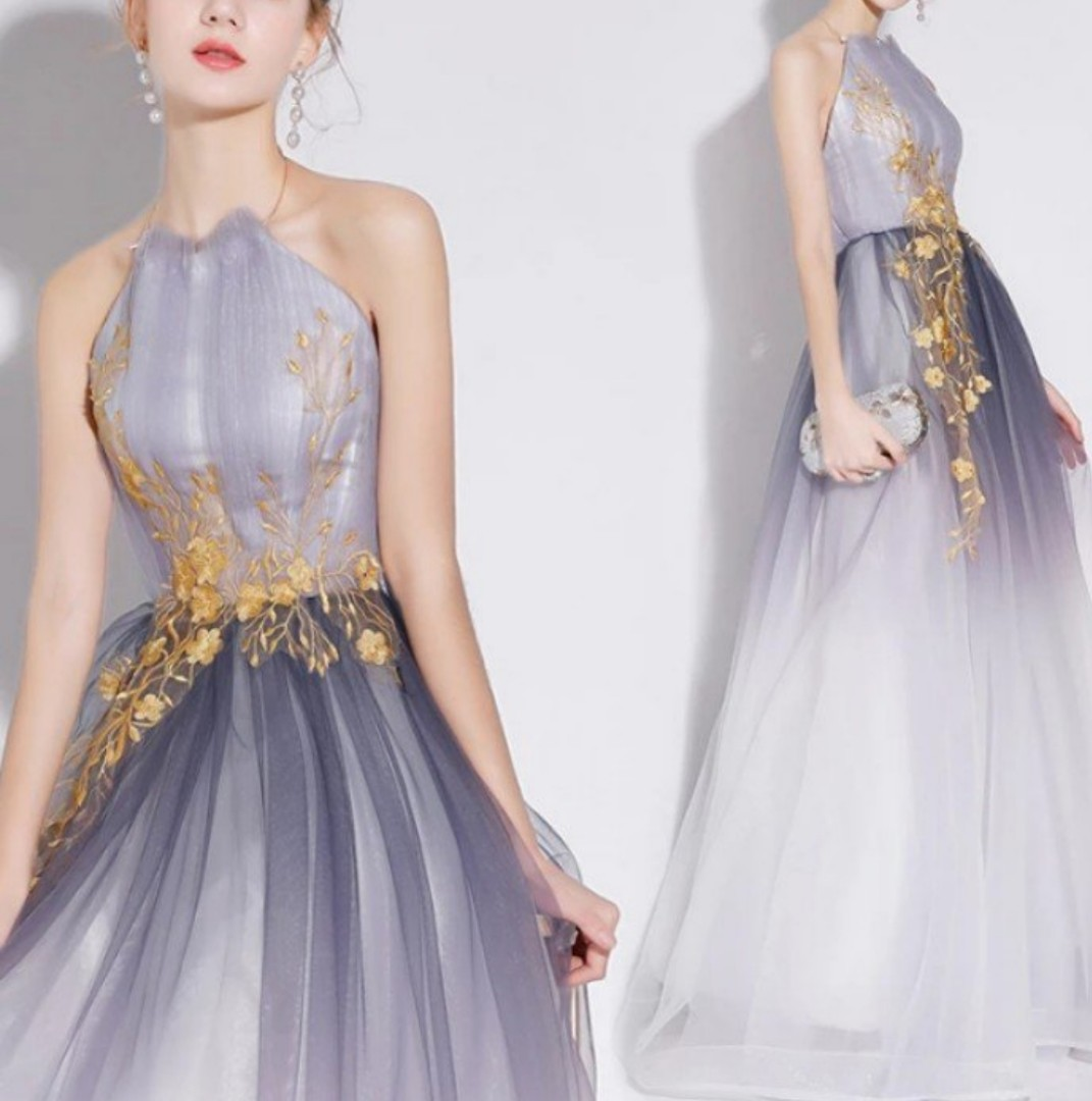 Ombre design grey long gown / evening dress, Women\'s Fashion ...