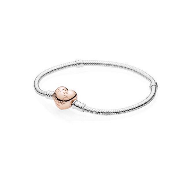 PANDORA bracelet- Stirling silver with rose gold heart clasp