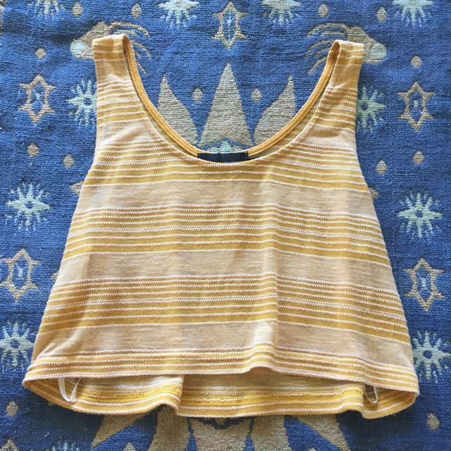 Pastel Yellow Stripe Crop Top