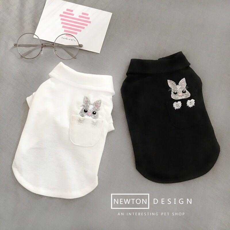 (PO) Pets Dog Polo T Shirt Cute Bunny Embroidery