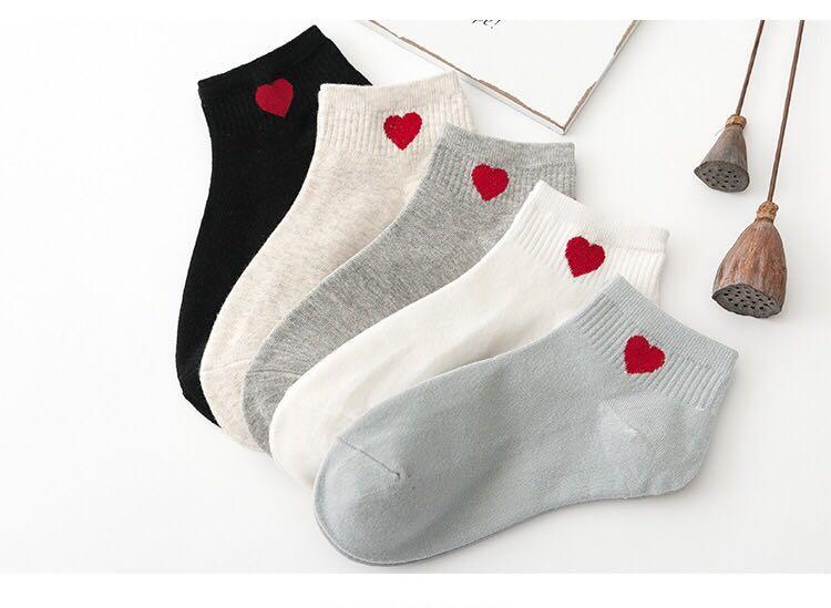 (PO) Summer Cute Hearts Smiley Socks School Ankle Socks