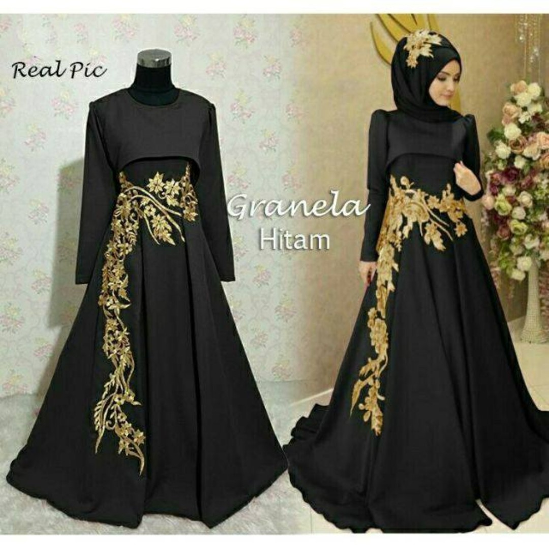 Dress Black And Gold Muslimah Little Black Dress Black Lace