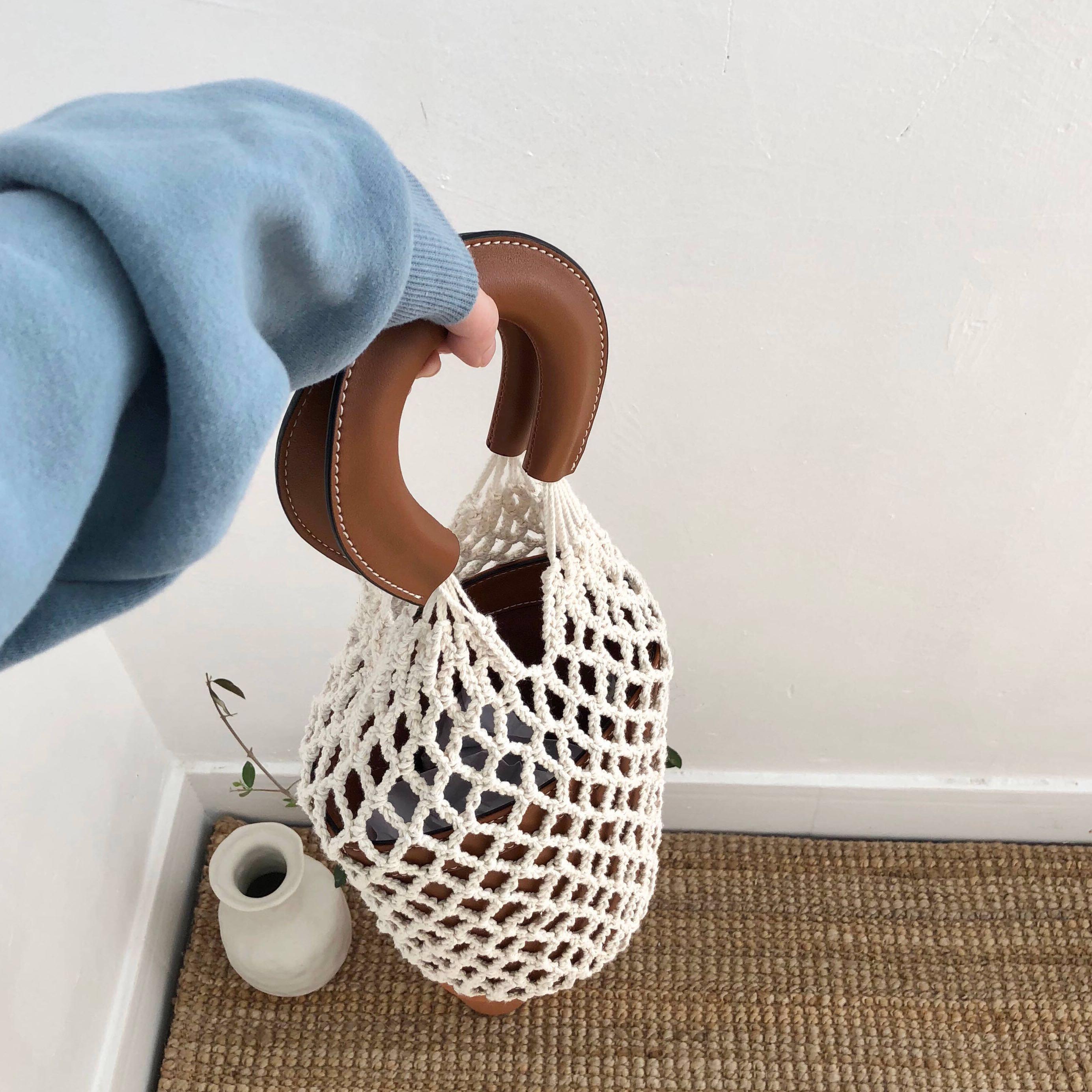 PU Handle Fish Net Bucket Bag