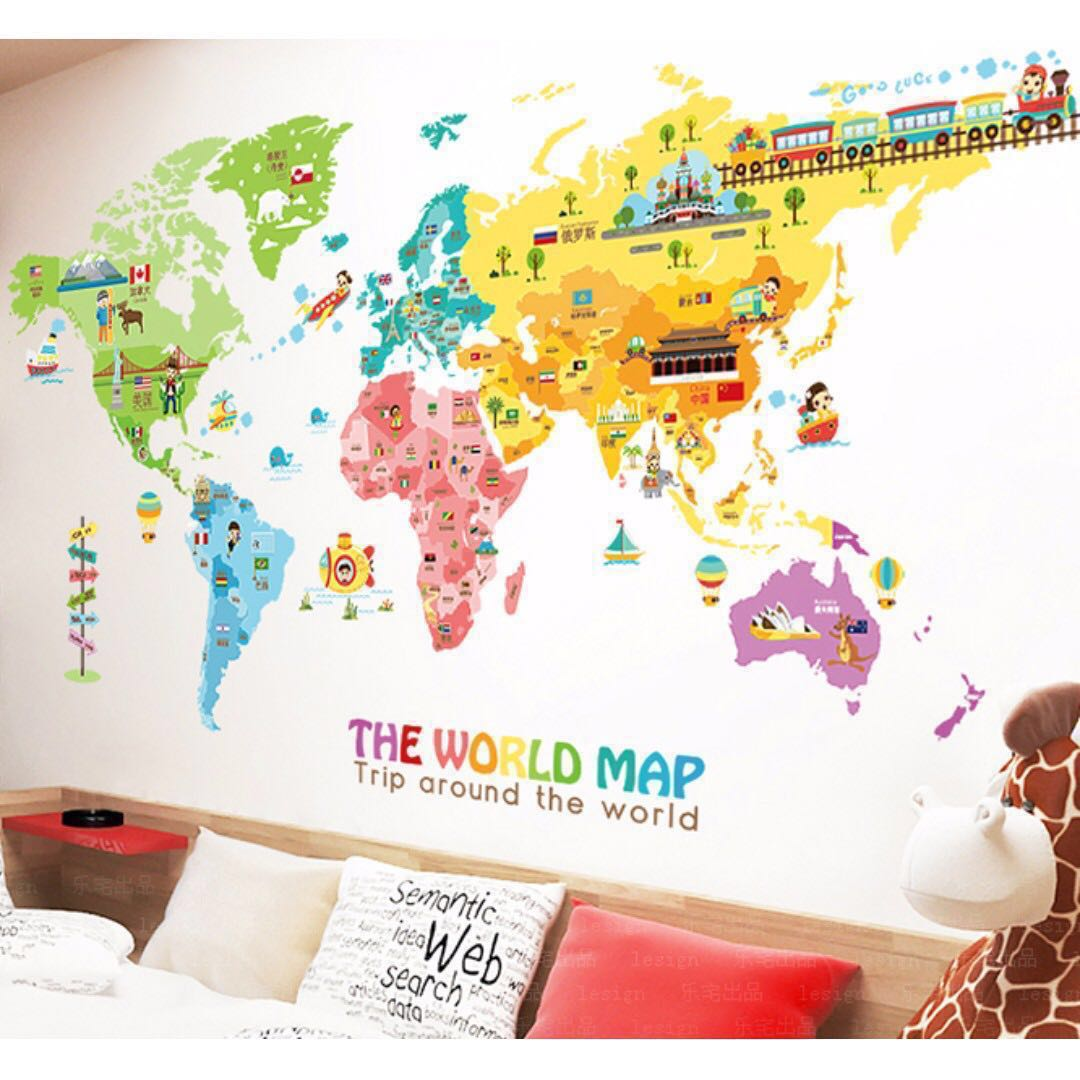 Wm04 2 World Map Extra Large Vinyl Kids Children