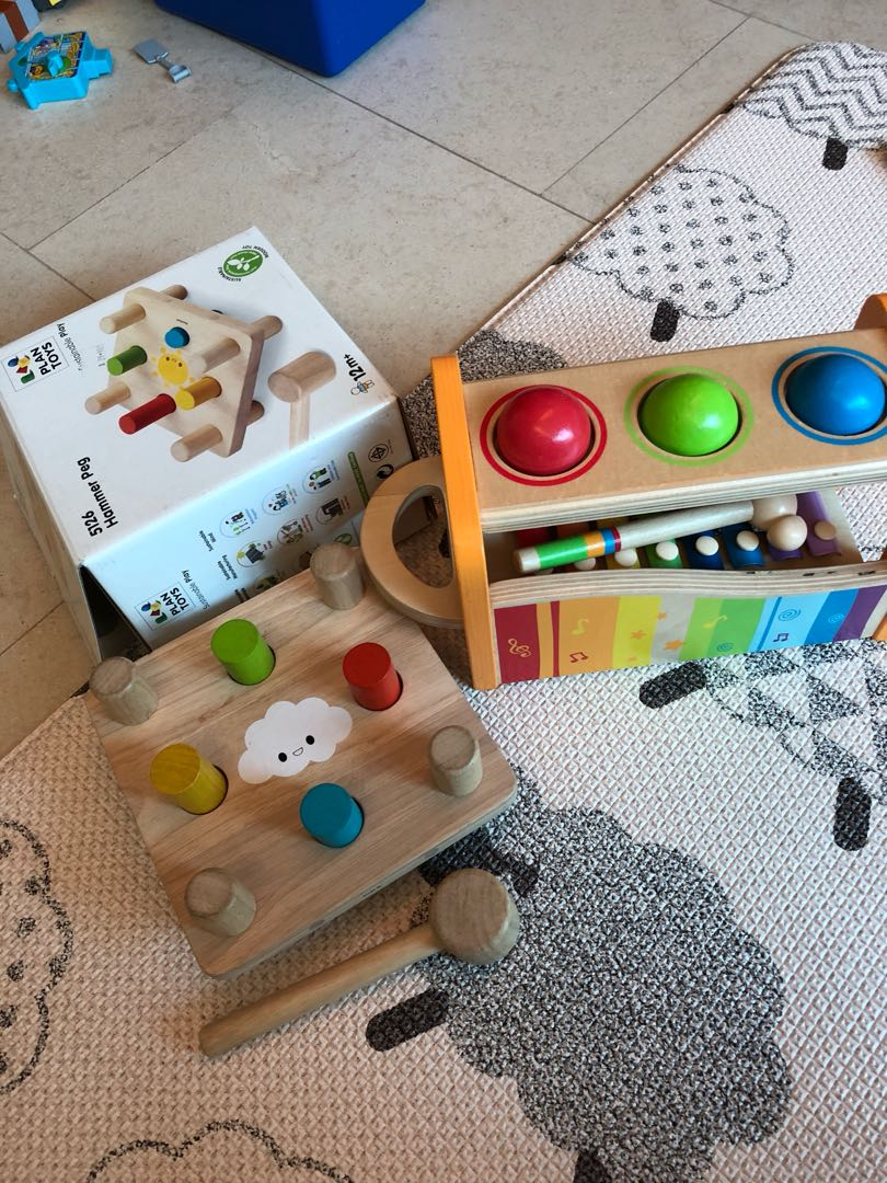 wooden toys hape and plan toys - hammer peg set and
