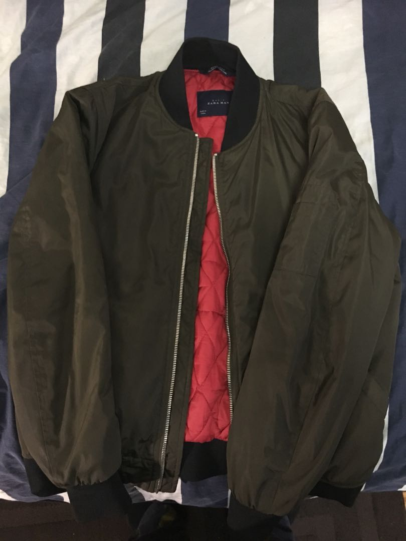 Zara Olive Bomber Jacket