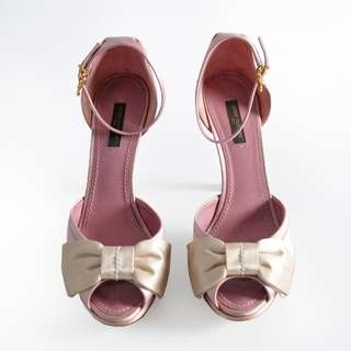 AUTHENTIC LOUIS VUITTON SATIN RIBBON BOW HEELS - LV SIZE 37