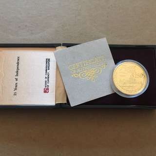 1990 Singapore 25th of Independence 1oz 999.9 Gold Proof coin
