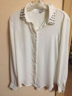 Forever 21 Studded Polo in White (Size M)