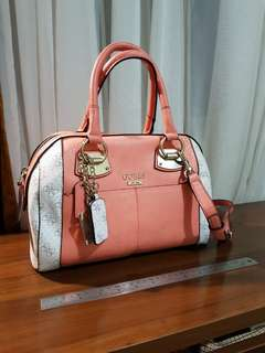 Authentic Guess Satchel Bag Salmon and White