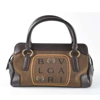 AUTHENTIC BVLGARI MEDIUM TOTE BAG  , IN LEATHER & CANVAS