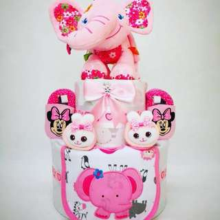 Pink Elephant Baby Diaper Cake