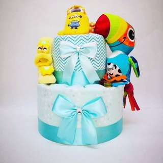 Blue bird diaper cake