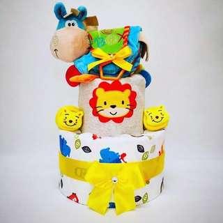 Blue cow diaper cake