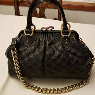 💯% AUTHENTIC MARC JACOBS Stam Quilted Handle Black Leather Satchel