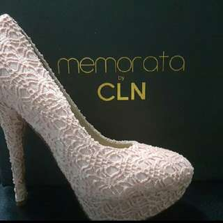 Lace 4 inches nude heels memorata by CLN