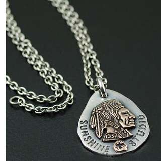 Japan Gothic Jewelry Indian Chief Long Goro Style 925 Sterling Silver Pendant