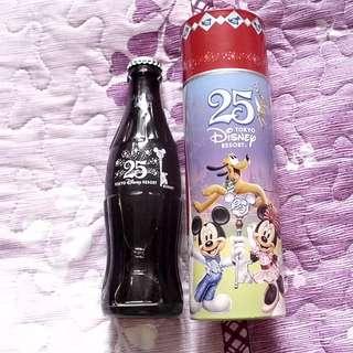已開可口可樂08年日本東京迪士尼渡假村25週年紀念玻璃樽