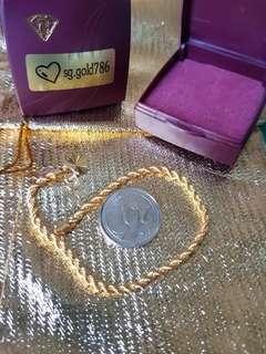 916 Gold Rope Bracelet 18cm