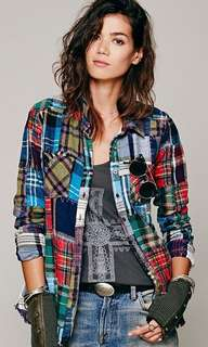 Free People We The Free Plaid Patch Buttondown