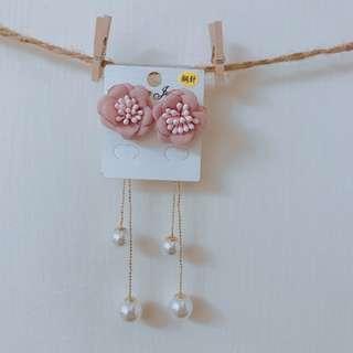 花朵長款珍珠流蘇耳環