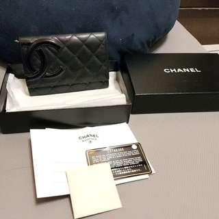 Chanel 康朋羊皮中夾 正品附購證 gucci lv Bv